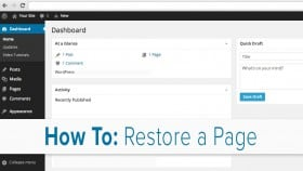 Restoring Pages