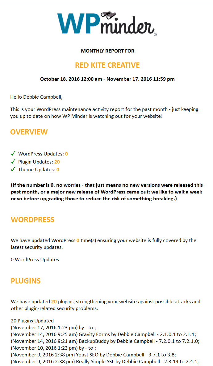 Screenshot of new client report